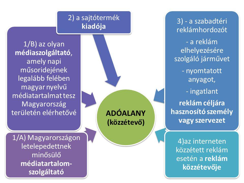 11 ADÓALANY (közzétevő) 1/A) Magyarországon letelepedettnek minősülő médiatartalom- szolgáltató 1/B) az olyan médiaszolgáltató, amely napi műsoridején