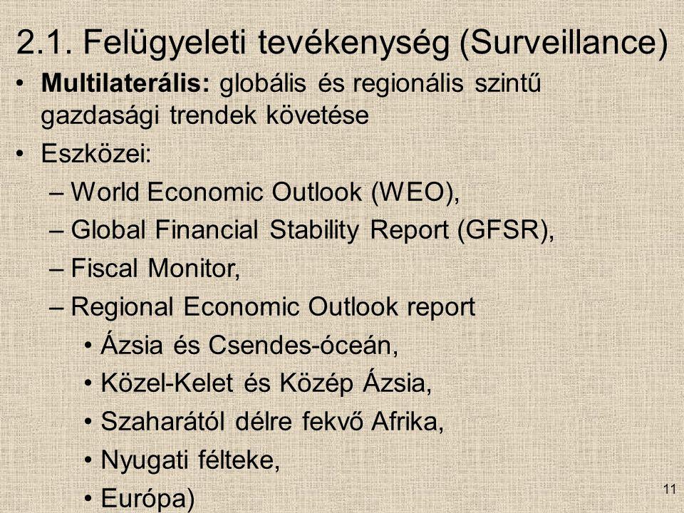 2.1. Felügyeleti tevékenység (Surveillance) Multilaterális: globális és regionális szintű gazdasági trendek követése Eszközei: –World Economic Outlook