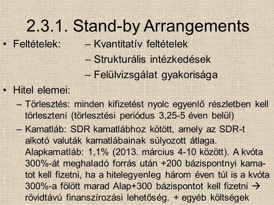 2.3.1. Stand-by Arrangements Feltételek:– Kvantitatív feltételek – Strukturális intézkedések – Felülvizsgálat gyakorisága Hitel elemei: –Törlesztés: m