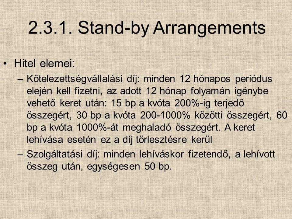 2.3.1. Stand-by Arrangements Hitel elemei: –Kötelezettségvállalási díj: minden 12 hónapos periódus elején kell fizetni, az adott 12 hónap folyamán igé
