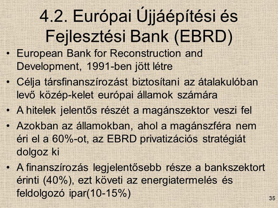 4.2. Európai Újjáépítési és Fejlesztési Bank (EBRD) European Bank for Reconstruction and Development, 1991-ben jött létre Célja társfinanszírozást biz
