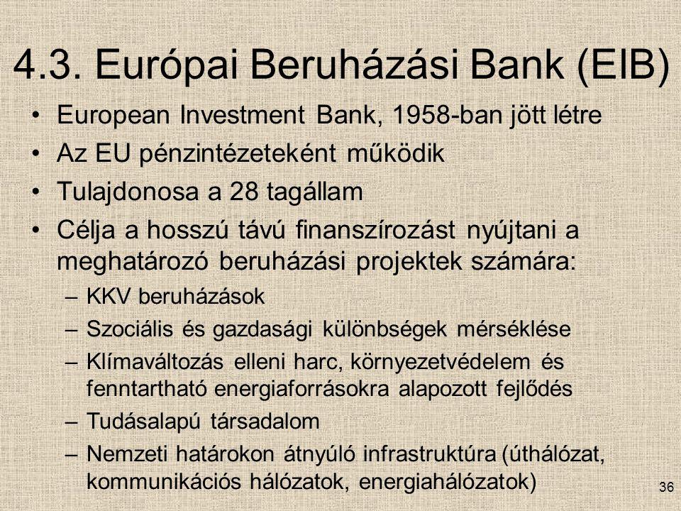 4.3. Európai Beruházási Bank (EIB) European Investment Bank, 1958-ban jött létre Az EU pénzintézeteként működik Tulajdonosa a 28 tagállam Célja a hoss