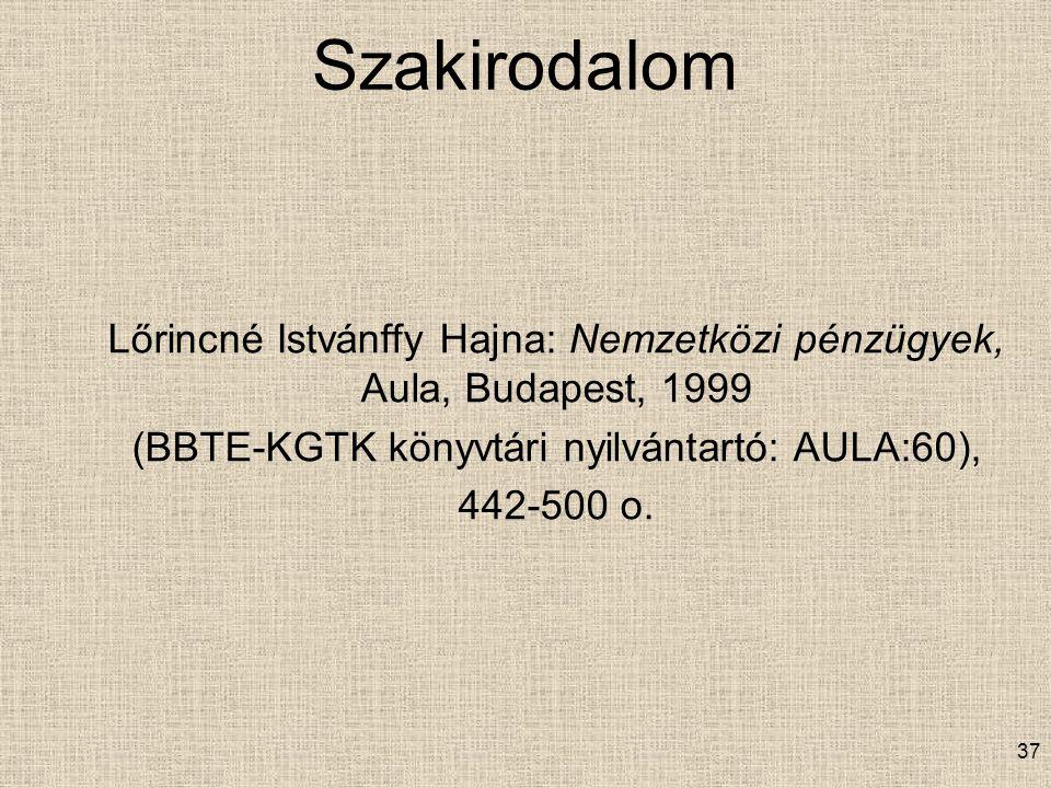 Szakirodalom Lőrincné Istvánffy Hajna: Nemzetközi pénzügyek, Aula, Budapest, 1999 (BBTE-KGTK könyvtári nyilvántartó: AULA:60), 442-500 o. 37