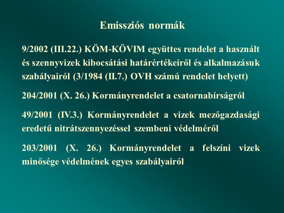 Emissziós normák 9/2002 (III.22.) KÖM-KÖVIM együttes rendelet a használt és szennyvizek kibocsátási határértékeiről és alkalmazásuk szabályairól (3/1984 (II.7.) OVH számú rendelet helyett) 204/2001 (X.