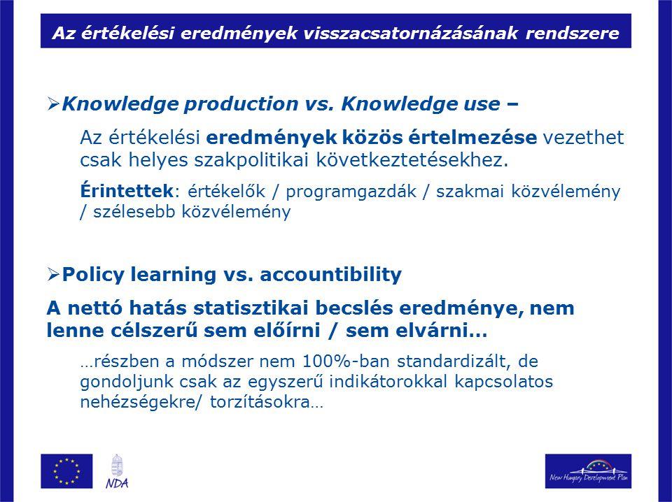 Az értékelési eredmények visszacsatornázásának rendszere  Knowledge production vs.