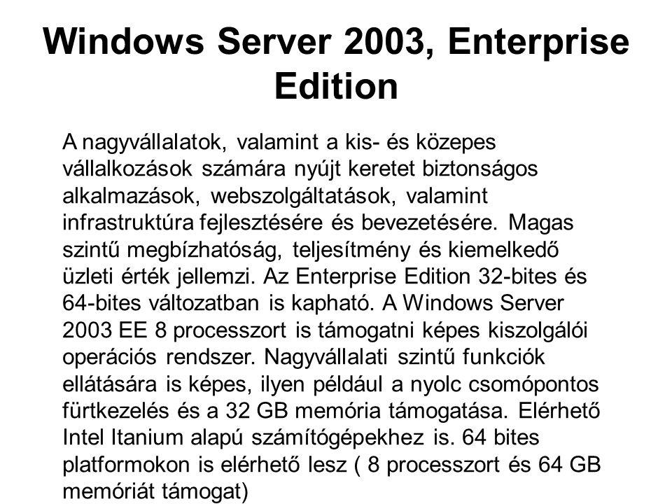 Windows Server 2003, Enterprise Edition A nagyvállalatok, valamint a kis- és közepes vállalkozások számára nyújt keretet biztonságos alkalmazások, web