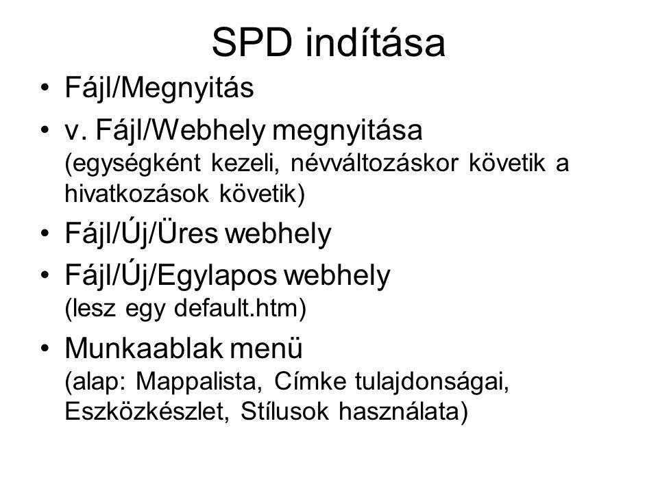 SPD indítása Fájl/Megnyitás v. Fájl/Webhely megnyitása (egységként kezeli, névváltozáskor követik a hivatkozások követik) Fájl/Új/Üres webhely Fájl/Új