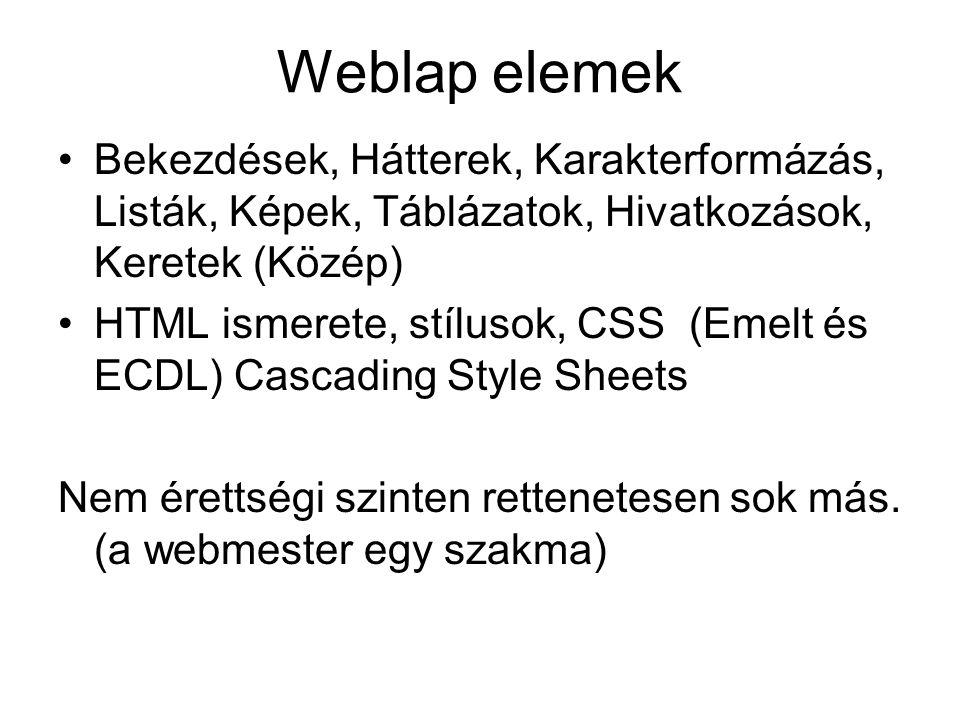 Weblap elemek Bekezdések, Hátterek, Karakterformázás, Listák, Képek, Táblázatok, Hivatkozások, Keretek (Közép) HTML ismerete, stílusok, CSS (Emelt és