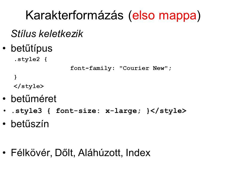 Karakterformázás (elso mappa) Stílus keletkezik betűtípus.style2 { font-family: