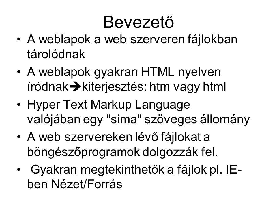 Bevezető A weblapok a web szerveren fájlokban tárolódnak A weblapok gyakran HTML nyelven íródnak  kiterjesztés: htm vagy html Hyper Text Markup Langu