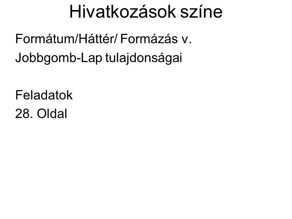 Hivatkozások színe Formátum/Háttér/ Formázás v. Jobbgomb-Lap tulajdonságai Feladatok 28. Oldal