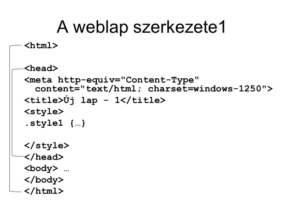 A weblap szerkezete1 Új lap - 1.style1 {…} …