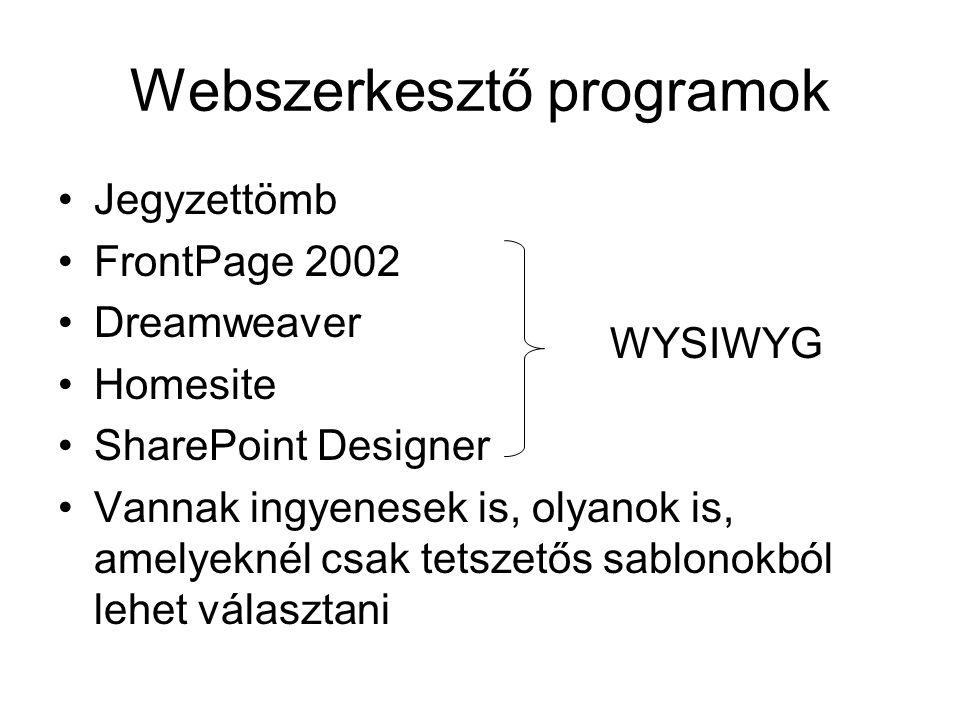 Webszerkesztő programok Jegyzettömb FrontPage 2002 Dreamweaver Homesite SharePoint Designer Vannak ingyenesek is, olyanok is, amelyeknél csak tetszető