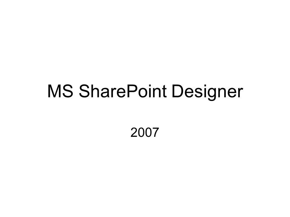 MS SharePoint Designer 2007