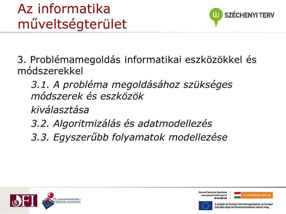 Az informatika műveltségterület 3. Problémamegoldás informatikai eszközökkel és módszerekkel 3.1.