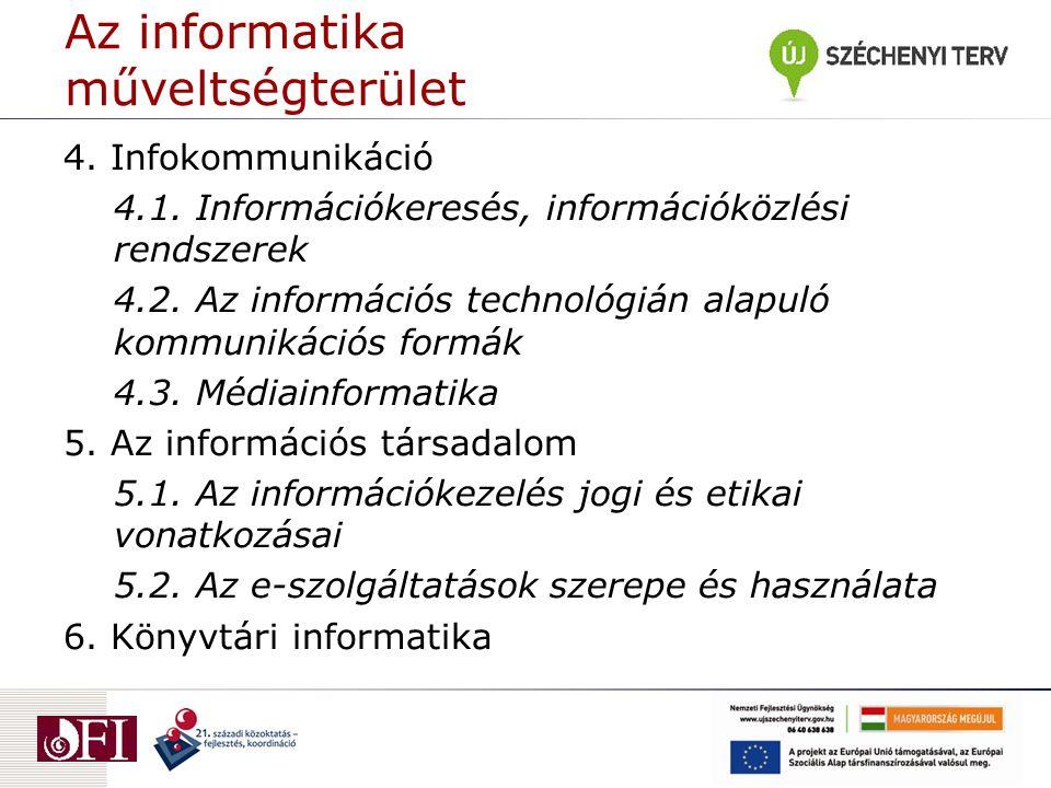 Az informatika műveltségterület 4. Infokommunikáció 4.1.