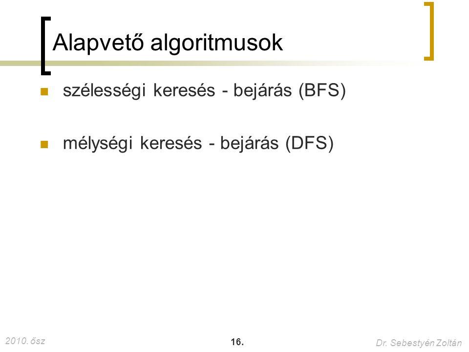 2010. ősz Dr. Sebestyén Zoltán 16. Alapvető algoritmusok szélességi keresés - bejárás (BFS) mélységi keresés - bejárás (DFS)