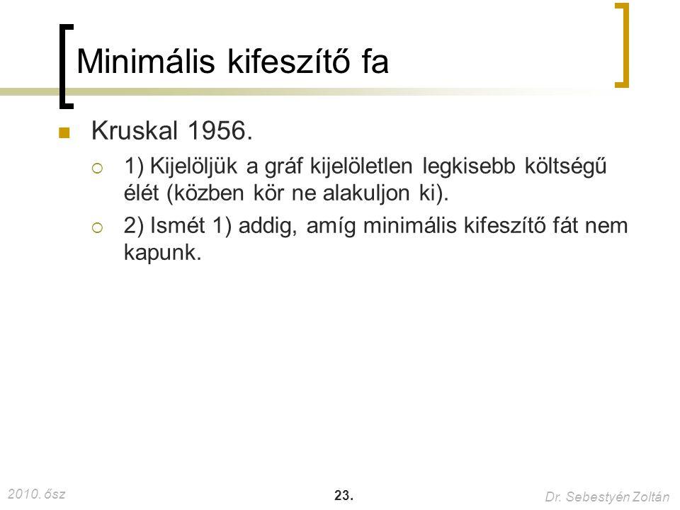 2010. ősz Dr. Sebestyén Zoltán 23. Minimális kifeszítő fa Kruskal 1956.  1) Kijelöljük a gráf kijelöletlen legkisebb költségű élét (közben kör ne ala