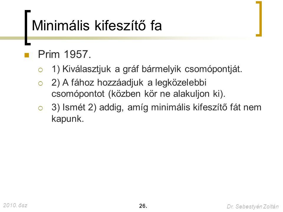 2010. ősz Dr. Sebestyén Zoltán 26. Minimális kifeszítő fa Prim 1957.  1) Kiválasztjuk a gráf bármelyik csomópontját.  2) A fához hozzáadjuk a legköz