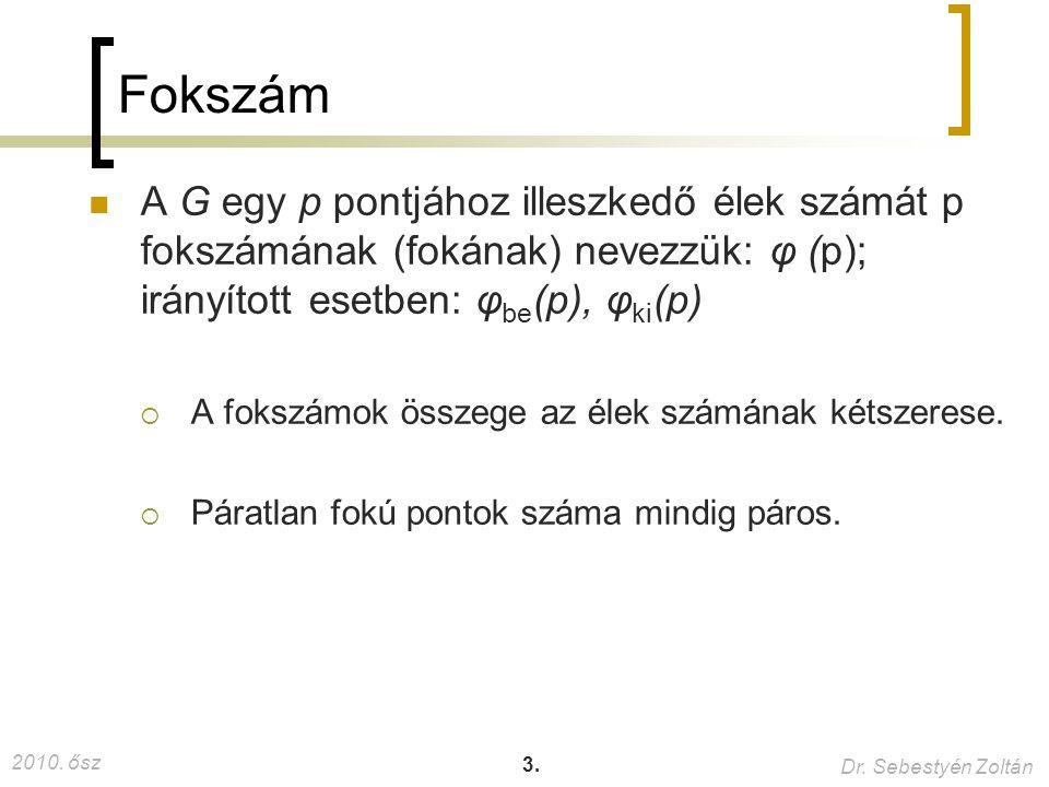 2010. ősz Dr. Sebestyén Zoltán 3. Fokszám A G egy p pontjához illeszkedő élek számát p fokszámának (fokának) nevezzük: φ (p); irányított esetben: φ be