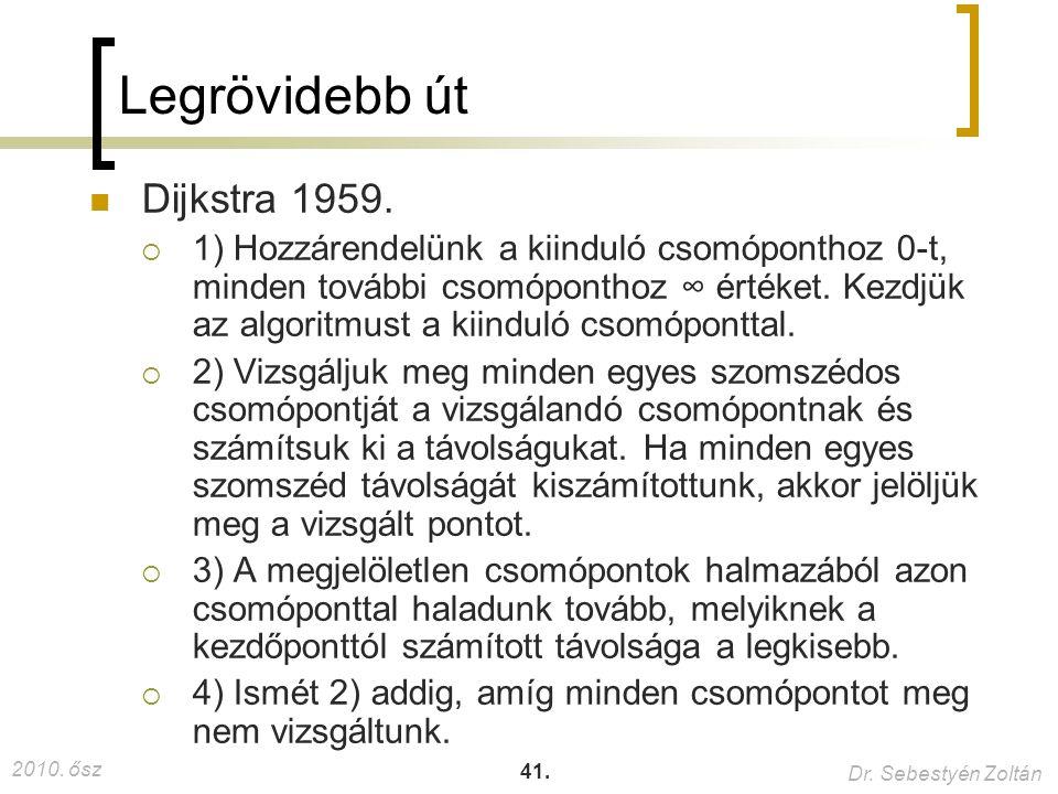 2010. ősz Dr. Sebestyén Zoltán 41. Legrövidebb út Dijkstra 1959.  1) Hozzárendelünk a kiinduló csomóponthoz 0-t, minden további csomóponthoz ∞ értéke