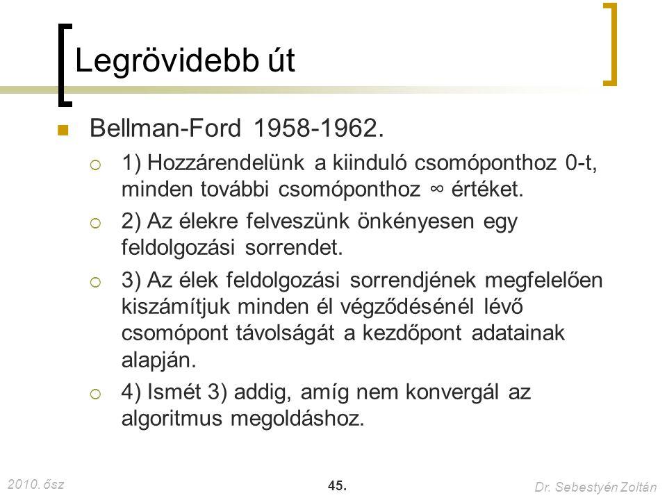 2010. ősz Dr. Sebestyén Zoltán 45. Legrövidebb út Bellman-Ford 1958-1962.  1) Hozzárendelünk a kiinduló csomóponthoz 0-t, minden további csomóponthoz