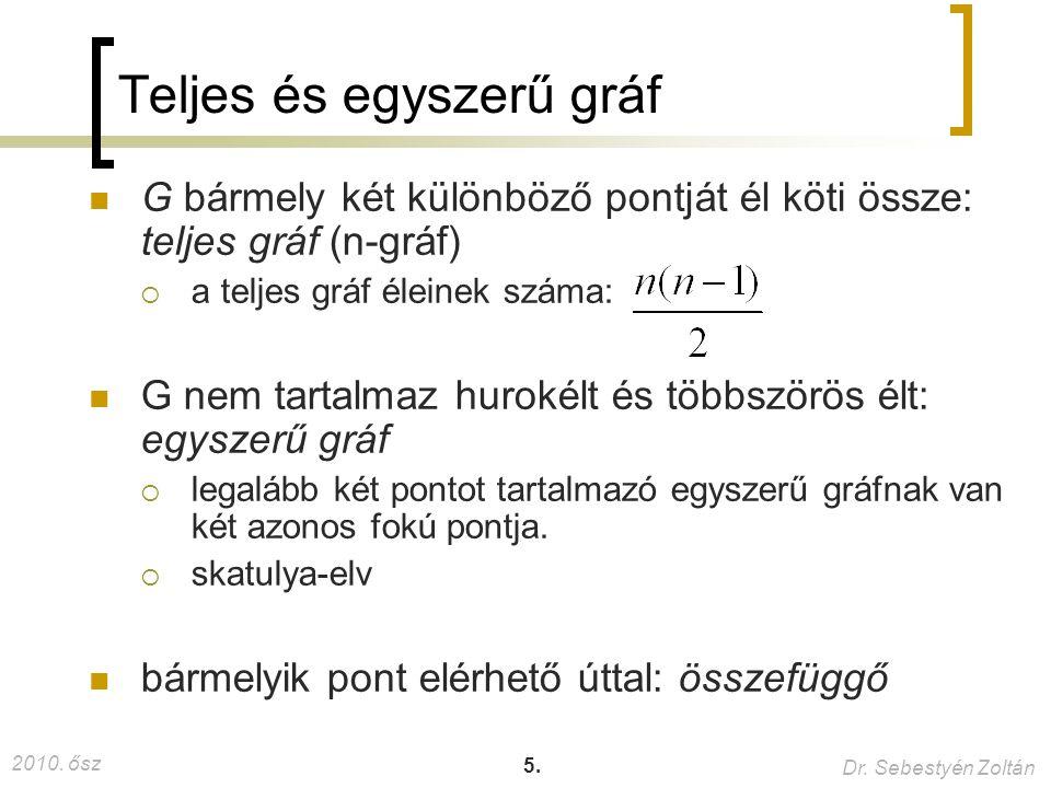 2010. ősz Dr. Sebestyén Zoltán 46. Legrövidebb út B A CD E 4 3 2 2 1 -3 5 1 2 3 4 5 6 7 8