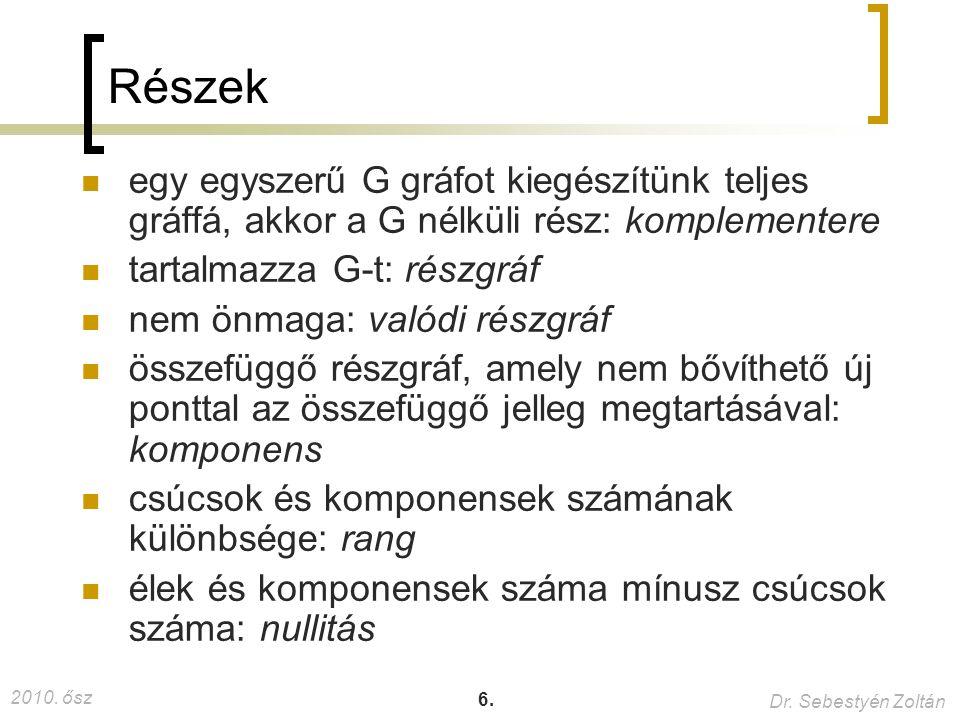 2010. ősz Dr. Sebestyén Zoltán 6. Részek egy egyszerű G gráfot kiegészítünk teljes gráffá, akkor a G nélküli rész: komplementere tartalmazza G-t: rész