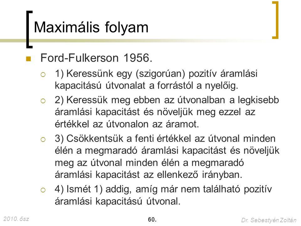 2010. ősz Dr. Sebestyén Zoltán 60. Maximális folyam Ford-Fulkerson 1956.  1) Keressünk egy (szigorúan) pozitív áramlási kapacitású útvonalat a forrás