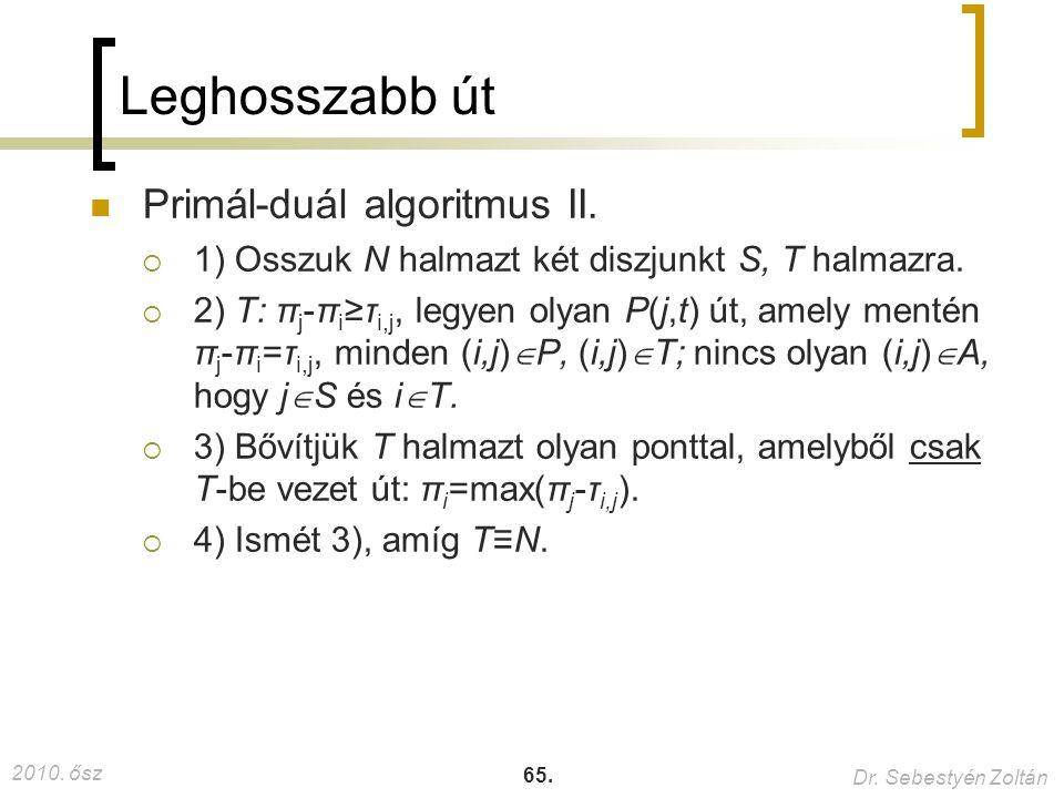 2010. ősz Dr. Sebestyén Zoltán 65. Leghosszabb út Primál-duál algoritmus II.  1) Osszuk N halmazt két diszjunkt S, T halmazra.  2) T: π j -π i ≥τ i,
