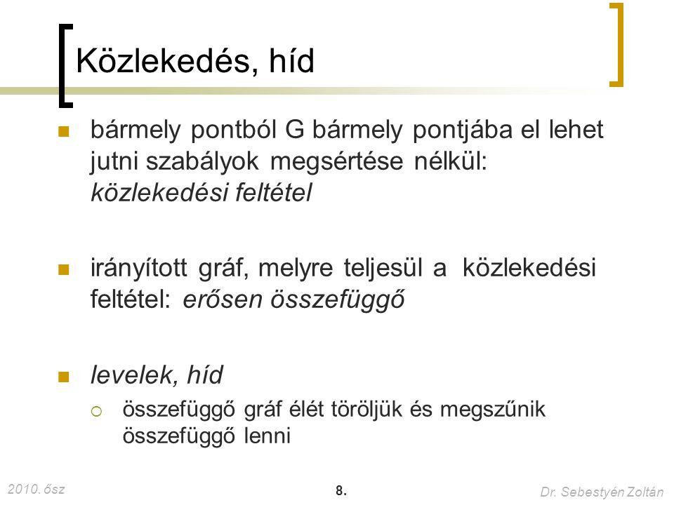 2010. ősz Dr. Sebestyén Zoltán 8. Közlekedés, híd bármely pontból G bármely pontjába el lehet jutni szabályok megsértése nélkül: közlekedési feltétel