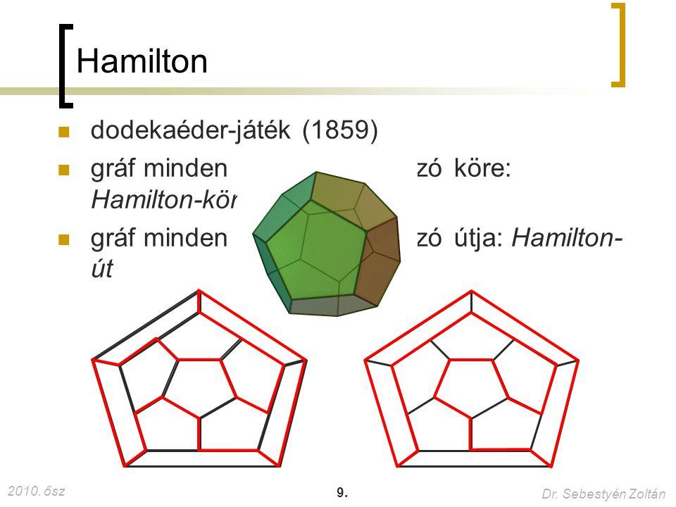 2010. ősz Dr. Sebestyén Zoltán 9. Hamilton dodekaéder-játék (1859) gráf minden pontját tartalmazó köre: Hamilton-kör gráf minden pontját tartalmazó út