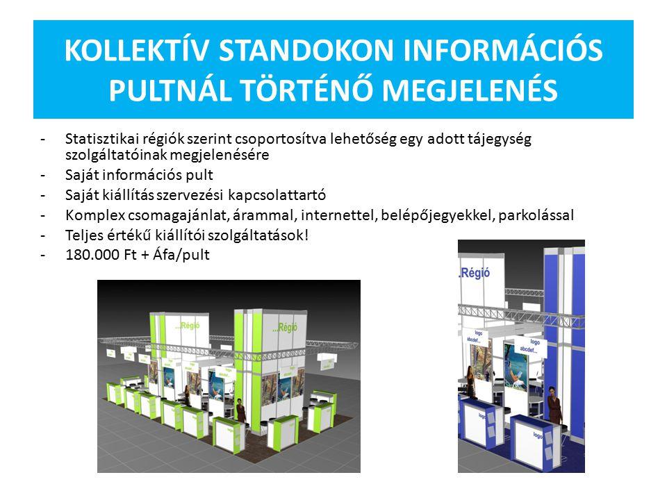 KOLLEKTÍV STANDOKON INFORMÁCIÓS PULTNÁL TÖRTÉNŐ MEGJELENÉS -Statisztikai régiók szerint csoportosítva lehetőség egy adott tájegység szolgáltatóinak megjelenésére -Saját információs pult -Saját kiállítás szervezési kapcsolattartó -Komplex csomagajánlat, árammal, internettel, belépőjegyekkel, parkolással -Teljes értékű kiállítói szolgáltatások.