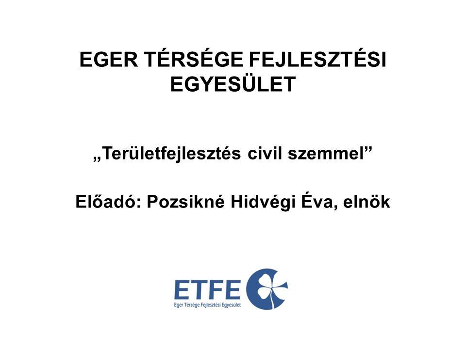 """EGER TÉRSÉGE FEJLESZTÉSI EGYESÜLET """"Területfejlesztés civil szemmel Előadó: Pozsikné Hidvégi Éva, elnök"""