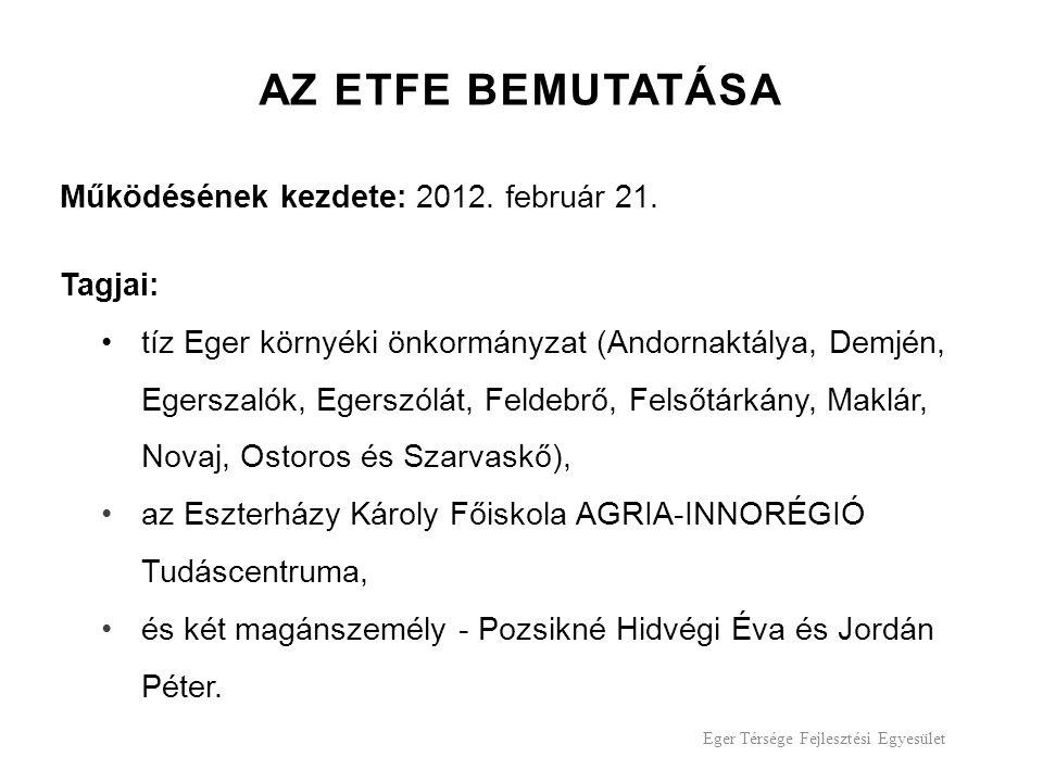 Eger Térsége Fejlesztési Egyesület AZ ETFE BEMUTATÁSA Működésének kezdete: 2012.