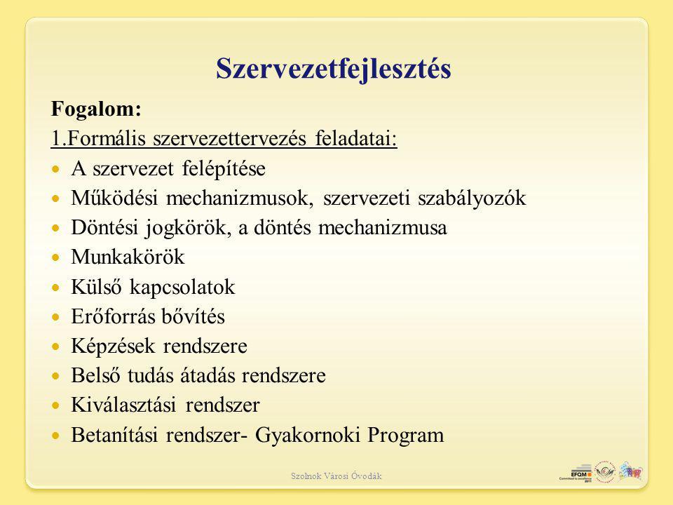 Szolnok Városi Óvodák Szervezetfejlesztés Fogalom: 1.Formális szervezettervezés feladatai: A szervezet felépítése Működési mechanizmusok, szervezeti szabályozók Döntési jogkörök, a döntés mechanizmusa Munkakörök Külső kapcsolatok Erőforrás bővítés Képzések rendszere Belső tudás átadás rendszere Kiválasztási rendszer Betanítási rendszer- Gyakornoki Program