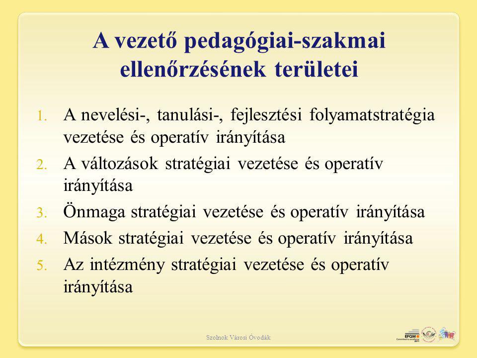 A vezető pedagógiai-szakmai ellenőrzésének területei Szolnok Városi Óvodák 1.