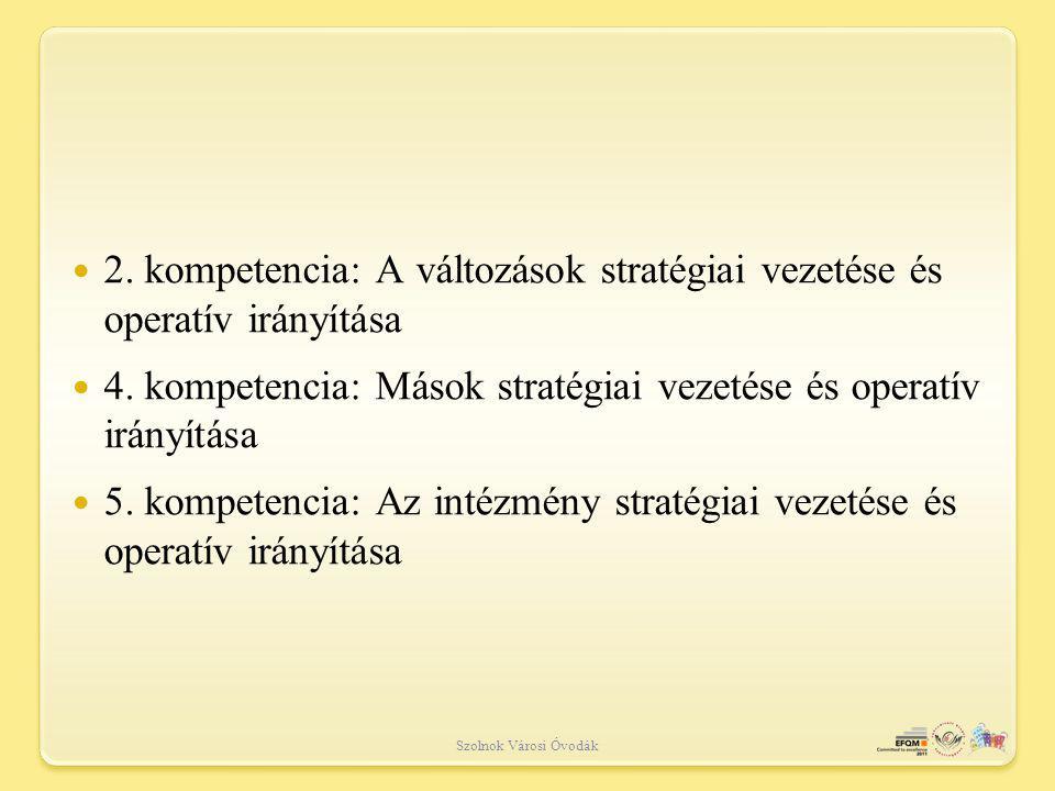 Szolnok Városi Óvodák 2.kompetencia: A változások stratégiai vezetése és operatív irányítása 4.