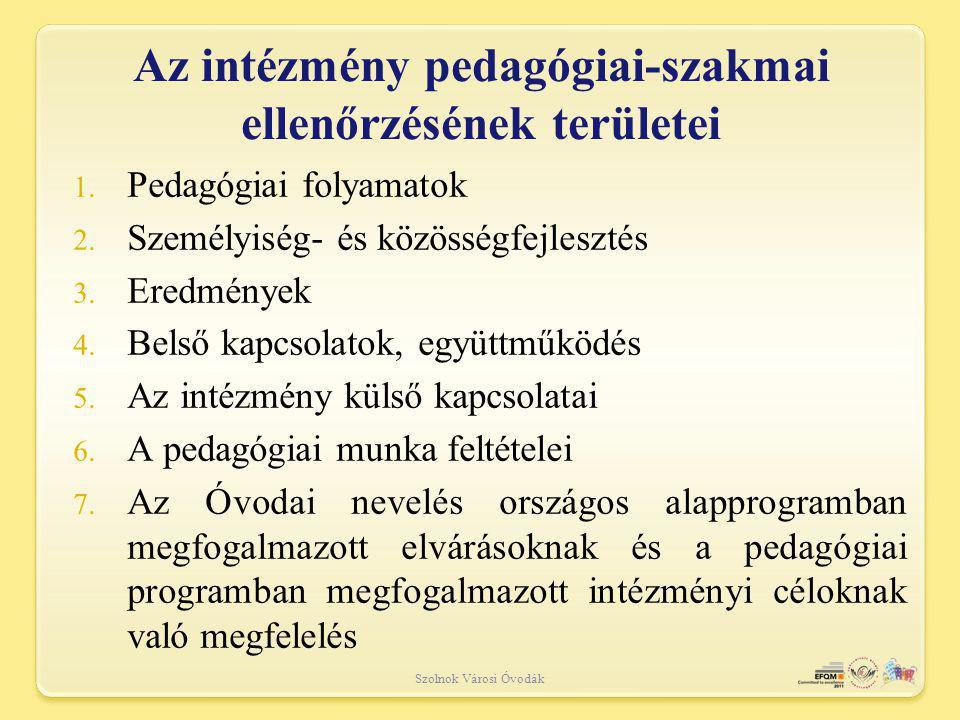 Szolnok Városi Óvodák 1.Pedagógiai folyamatok 2. Személyiség- és közösségfejlesztés 3.
