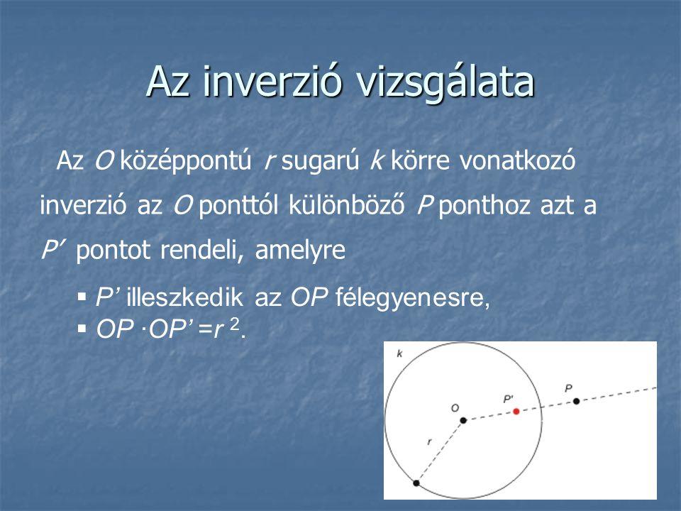 Az inverzió vizsgálata Az O középpontú r sugarú k körre vonatkozó inverzió az O ponttól különböző P ponthoz azt a P' pontot rendeli, amelyre  P' ille