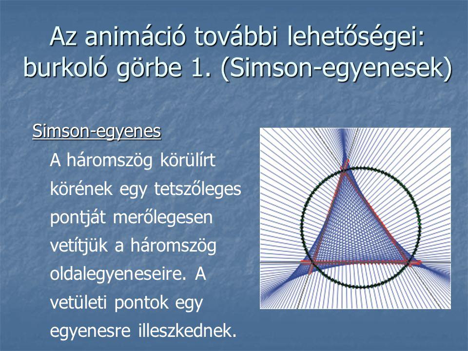 Az animáció további lehetőségei: burkoló görbe 1. (Simson-egyenesek) Simson-egyenes A háromszög körülírt körének egy tetszőleges pontját merőlegesen v