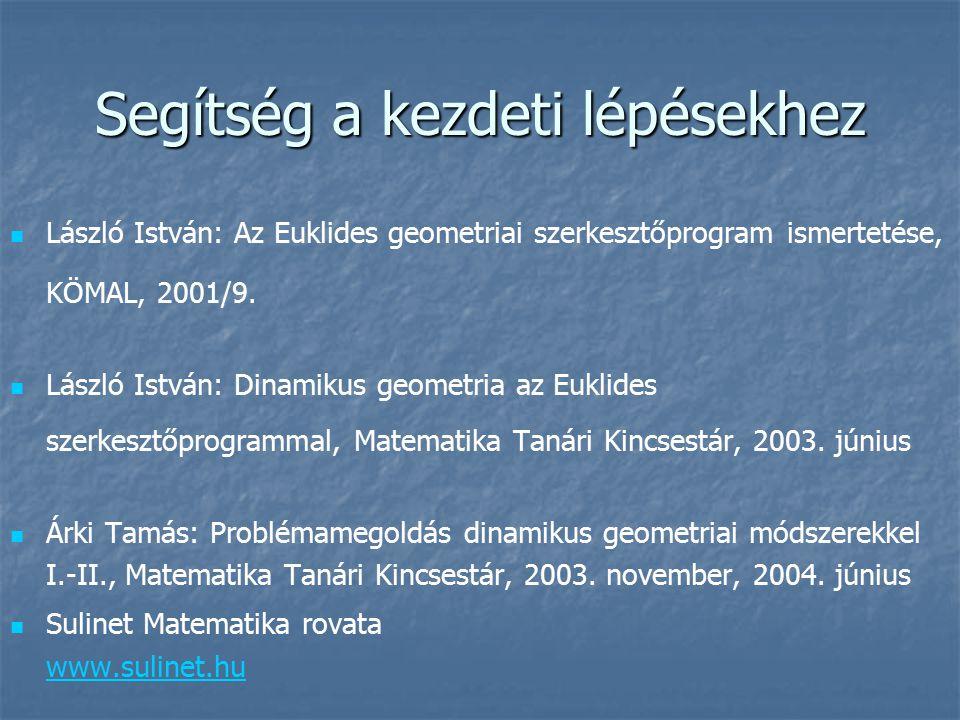 Segítség a kezdeti lépésekhez László István: Az Euklides geometriai szerkesztőprogram ismertetése, KÖMAL, 2001/9. László István: Dinamikus geometria a