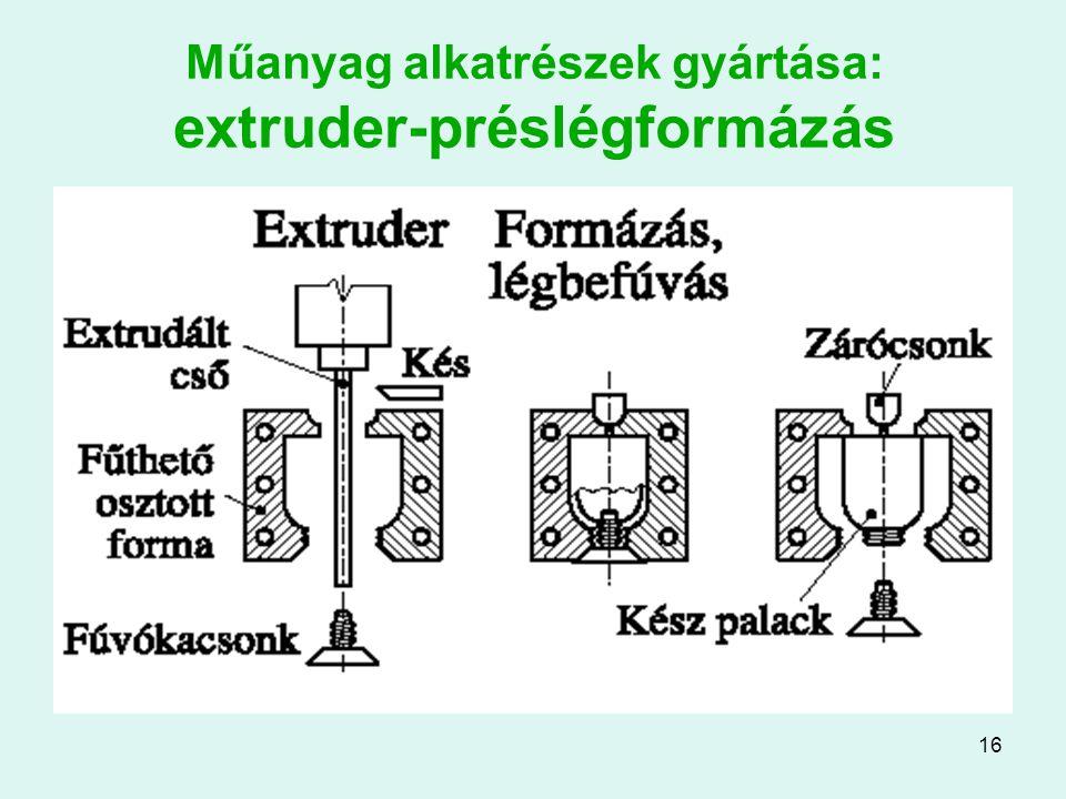 16 Műanyag alkatrészek gyártása: extruder-préslégformázás