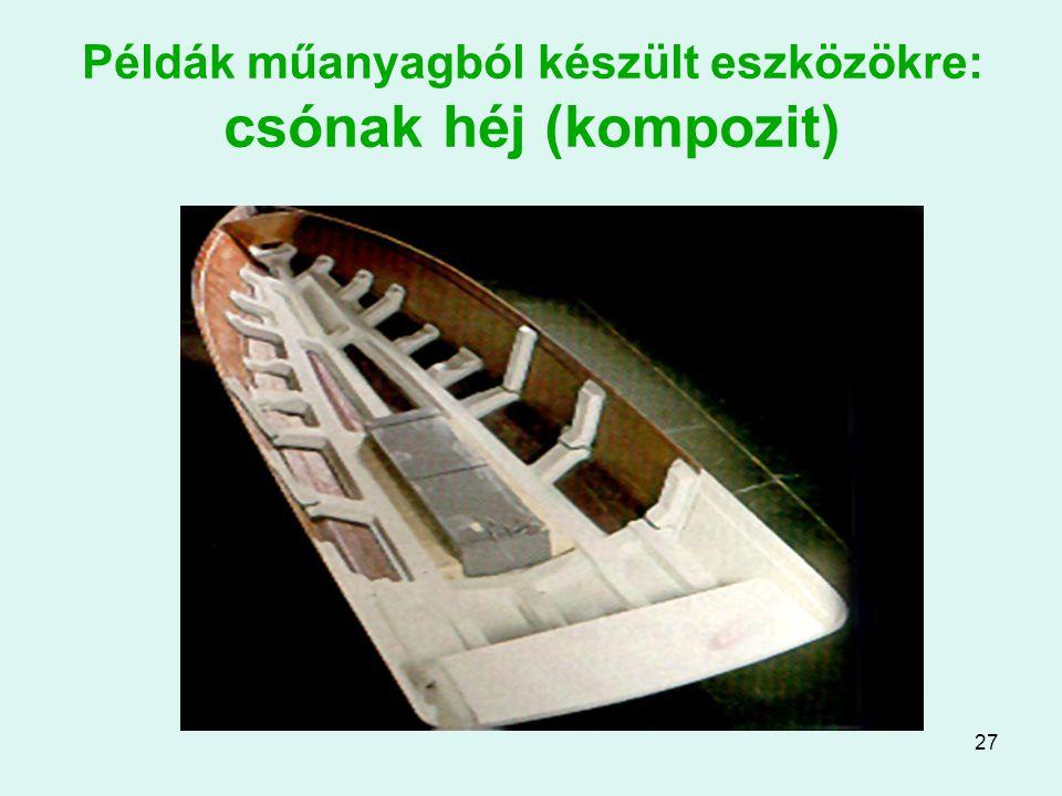 27 Példák műanyagból készült eszközökre: csónak héj (kompozit)