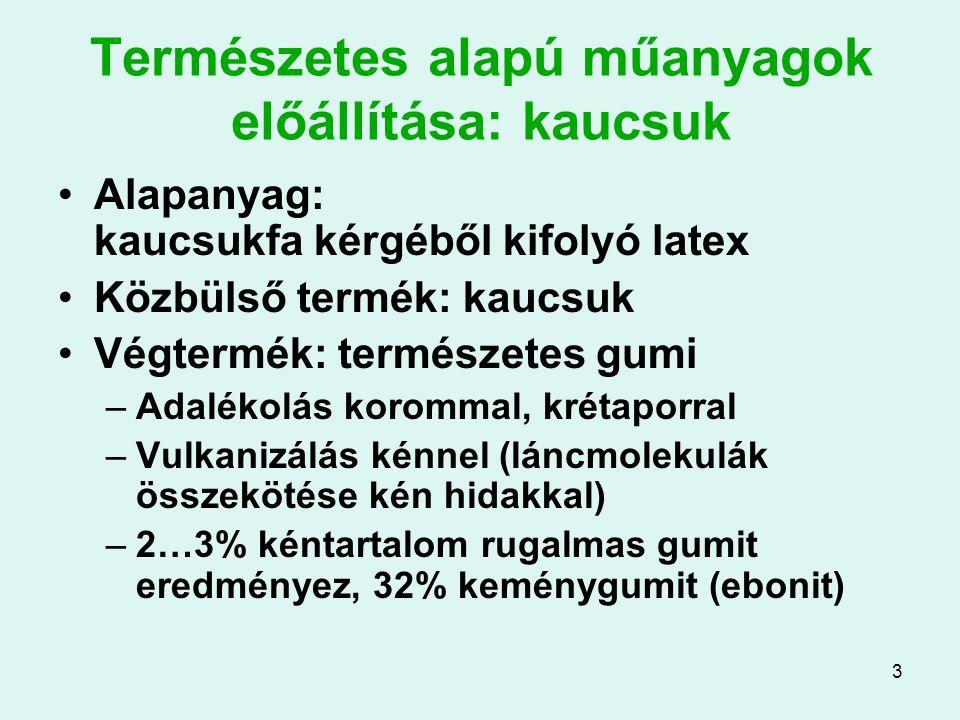 3 Természetes alapú műanyagok előállítása: kaucsuk Alapanyag: kaucsukfa kérgéből kifolyó latex Közbülső termék: kaucsuk Végtermék: természetes gumi –A