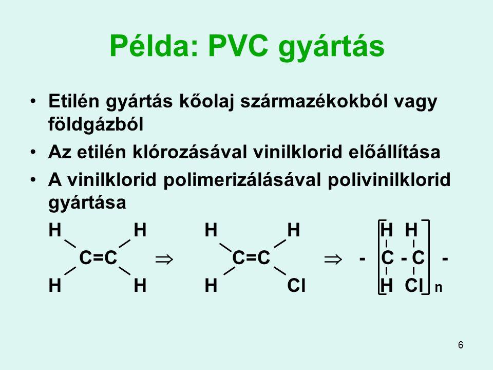 6 Példa: PVC gyártás Etilén gyártás kőolaj származékokból vagy földgázból Az etilén klórozásával vinilklorid előállítása A vinilklorid polimerizálásáv