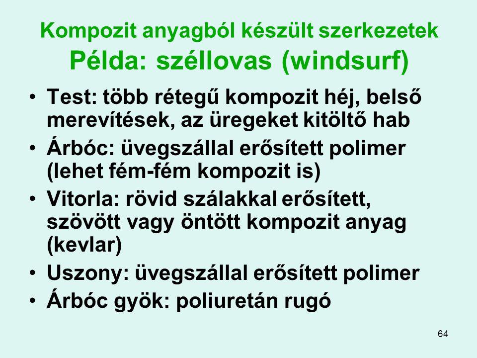 64 Kompozit anyagból készült szerkezetek Példa: széllovas (windsurf) Test: több rétegű kompozit héj, belső merevítések, az üregeket kitöltő hab Árbóc: