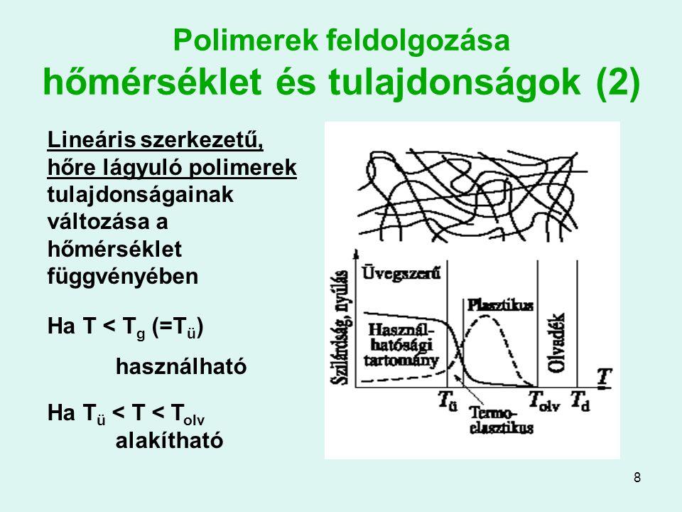 8 Polimerek feldolgozása hőmérséklet és tulajdonságok (2) Lineáris szerkezetű, hőre lágyuló polimerek tulajdonságainak változása a hőmérséklet függvén