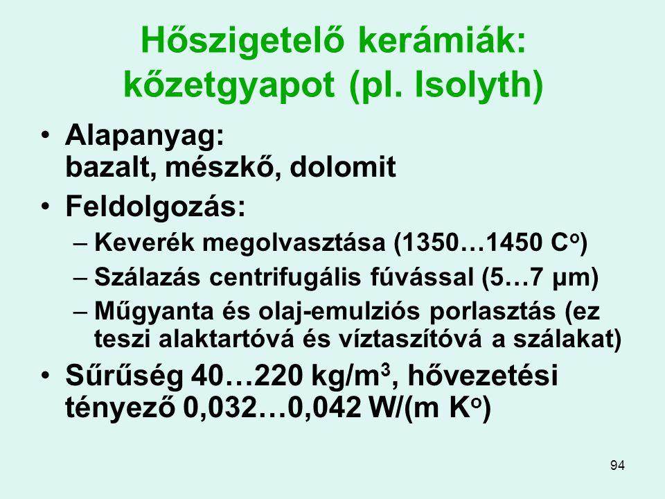 94 Hőszigetelő kerámiák: kőzetgyapot (pl. Isolyth) Alapanyag: bazalt, mészkő, dolomit Feldolgozás: –Keverék megolvasztása (1350…1450 C o ) –Szálazás c