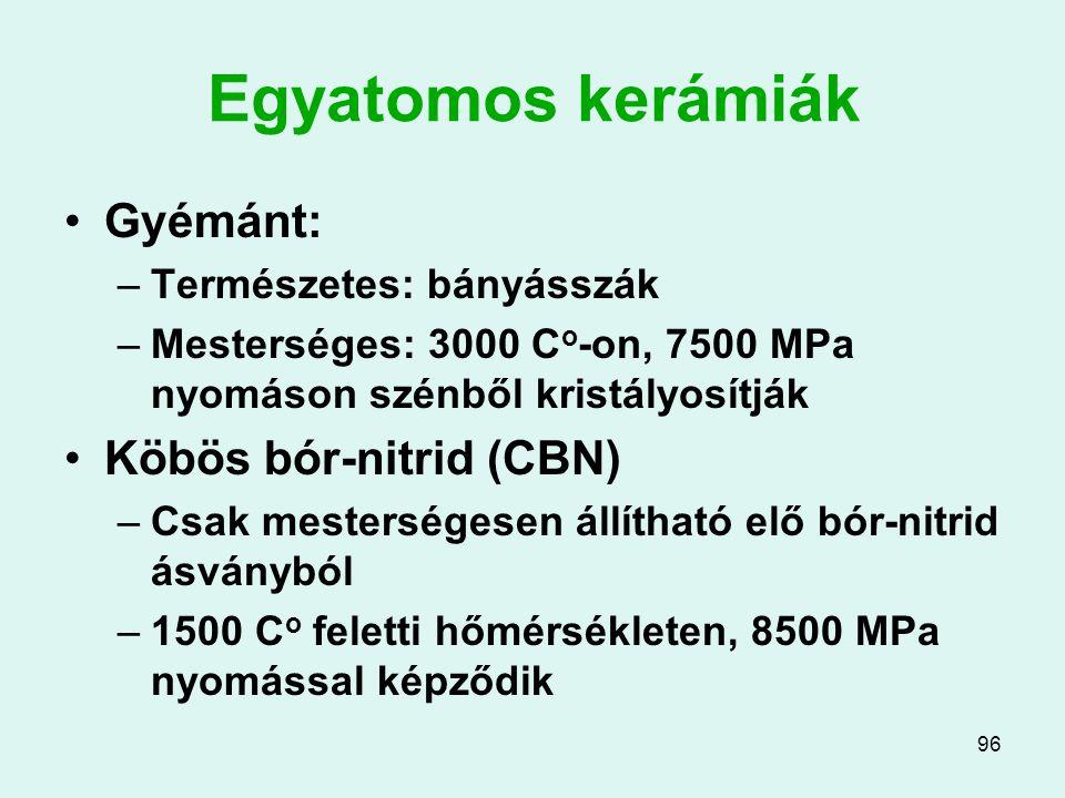 96 Egyatomos kerámiák Gyémánt: –Természetes: bányásszák –Mesterséges: 3000 C o -on, 7500 MPa nyomáson szénből kristályosítják Köbös bór-nitrid (CBN) –
